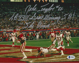 "JOHN TAYLOR SAN FRANCISCO 49ERS ""SB XXIV TD"" SIGNED & INSCRIBED 8X10 PHOTO (HOR)"