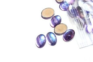 #W36        14X10MM OVAL GLASS LAVENDER TRANSLUCENT CABOCHONS 12PC