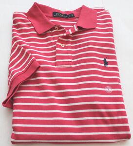 Polo Ralph Lauren Polo Shirt S/S M Men's Salmon Pink Mesh Stripe NWT