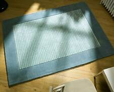 Plain Bordered Centre Hedley Rugs In Duck Egg Blue Wool & Viscose 160X230CM