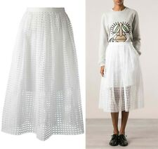CARVEN white square netted A-line 100% cotton skirt  size 36