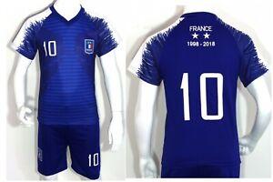 France Children Boys Girl Set Football T-Shirts National Football Kit Jersey