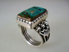 HI-QUALITY Albert Jake NAVAJO STERLING SILVER & SQUARED TURQUOISE RING size 8.5