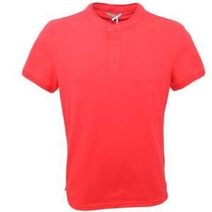 POLO basic uomo in cotone elastico rosso slim fit girocollo con cucitura in tint