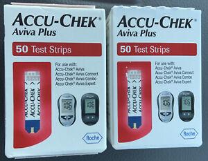 2- 50 Ct Accu-Chek Aviva Plus Diabetic Blood Glucose Test Strips  Exp  2022