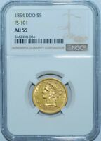 1854 NGC AU55 FS-101 Earring DDO Doubled Die Obverse $5 Liberty Head Half Eagle