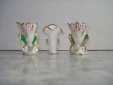 3 Très petits vases de Mariée en Porcelaine XIXème