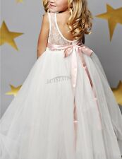 Flower Girl Princess Dress Kid Party Pageant Wedding Bridesmaid Tutu Dresses 8T