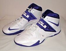 Mens NIKE LEBRON JAMES ZOOM SOLDIER VII 7 Basketball Shoes White Purple  Sz 18