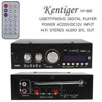 Bluetooth 2CH Digital Amplifier HiFi USB/FM/AUX Stereo Power Amp DC12V/AC110V