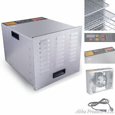 Commercial Stainless Steel 10 Tray Food Fruit Jerky Dehydrator Heat Blower Dryer
