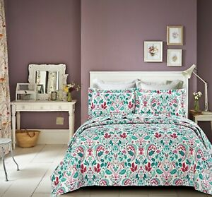 Teal White Pink 3 Piece Quilted Bedspread Throw Comforter & 2 Pillowcase