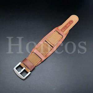 18 - 24 MM Canvas Military Leather Watch Band Strap Pilot Bund Nylon Fabric USA