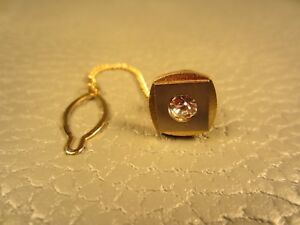 Vintage Faux Diamond Yellow and White Gold Plated Tie Tac or Lapel Pin