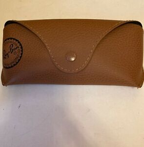 RAY BAN Soft CASE Brown Tan Luxottica Eye or Sun Glasses Snap Logo USA Case only