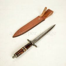 "Damascus Ornate Medieval Knights 15"" Dagger Leather Sheath 55 HRC SHARP Handmade"