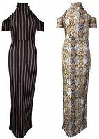 Womens Snake Print Dipped Hem Key Hole Halter Neck Summer Maxi Dress 8-14