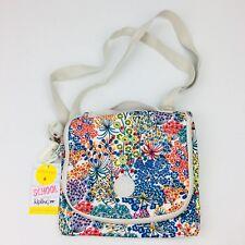 Kipling Kichirou Little Flower Blue Print Nylon Insulated Lunch Bag Crossbody