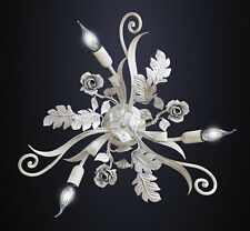 Plafoniera lampadario ferro battuto 3 Luci bianco shabby e foglia argento e rose