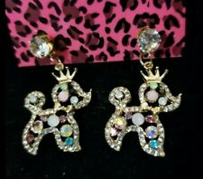 Betsey Johnson Gold Plated Multi-Color Crystal Poodle Puppy Dog Stud Earrings