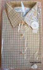 "Van Heusen Long Sleeve Shirt.15""-38cm. Beige and Green Check. 100% Cotton"