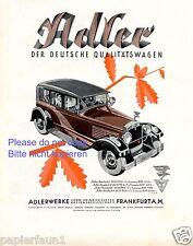 Adler Standard Frankfurt XL Farbreklame von 1929 Reklame Werbung Kleyer +