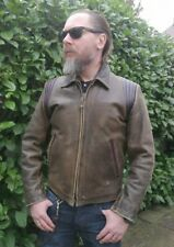 Schott NYC Cafe Racer Highwayman Biker Leather Jacket L