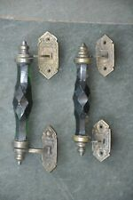 2 Pc Vintage Glass & Brass Green Handcrafted Victorian Cut Glass Door Handle