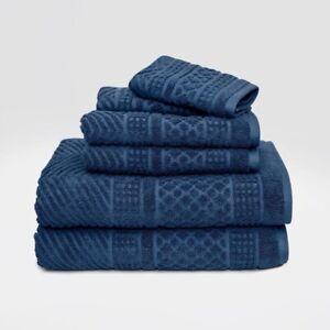 6pc LOFT BY LOFTEX Apothecary Bath Towel Set | Dark Blue | 🆕