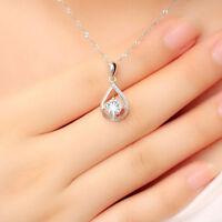 Women Boho Jewelry Crystal Water Drop Charm Pendant Necklace Chain Choker LD