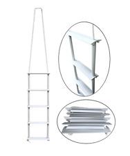 Pactrade Marine Inflatable Boat Kayak 5-Step White Folding PE Rope PVC Ladder