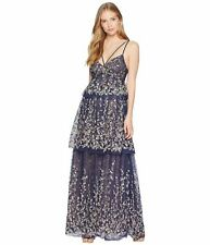 NWT BCBG MAXAZRIA Navy Embroidered Tiered-skirt Lace Gown-$588