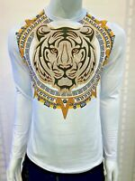 New Mens Long Sleeve Slim Fit T-Shirt White Black Greek Tiger Gold Rhinestones
