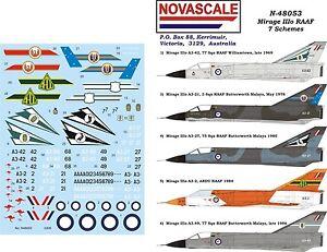 RAAF Decals Mirage IIIo - 7 Schemes 1/48 Scale N48053