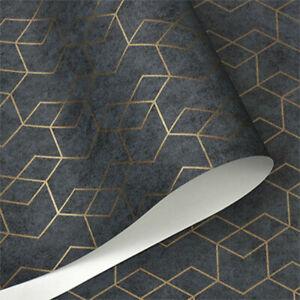 Dark Grey Luxury Geometric Wallpaper Wall Paper Modern Home Wall Decor AU Stock