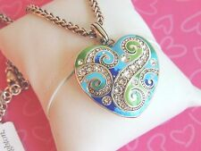Brighton Necklace La Bella Heart Green Blue Crystal Reversible NWT Rare LAST ONE