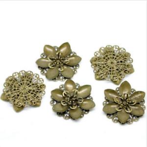 New 20 pcs Bronze Tone Filigree Flower Wraps Connnector Embellishments 4.5x4.2cm