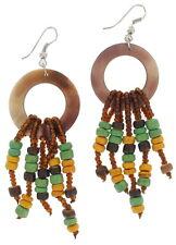 """Pierced Earrings Wood Bead Brown Yellow Green Tribal Chandelier 3 1/4"""""""