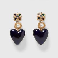 Statement Pearl Heart Earrings. Crystal Gold Plated Fashion Zara Drop Studs