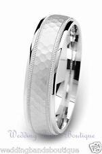 Finish Mans Mens Milgrain Ring 6mm 10k White Solid Gold Wedding Band Hammered