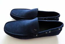 $750 NEW BRIONI Blue Suede Shoes Loafers Moccasins 11.5 US 44.5 Euro 10.5 UK