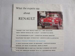 1959 ? Renault Dauphine Sales Brochure Catalog Advertising