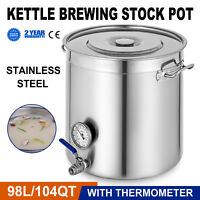 VEVOR Stainless Steel Home Brew Kettle Brewing Stock Pot Beer Wine Set
