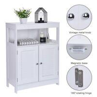 Wooden Bathroom Floor Cabinet Storage Cupboard 3 Shelves Free Standing Shelf