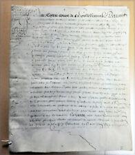 1598  Sous HENRI IV, Grand Parchemin , à déchiffrer, avec cachet pendant