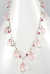 "17.5"" Solid Sterling Silver Pink Crystal & Rose Quartz Necklace GORGEOUS 5.5g"