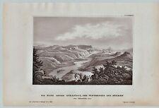 Sachsen - Bad Schandau - Elbe - Winterberg. Original Stahlstich 1850