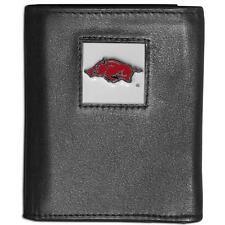 Arkansas Razorbacks Leather Trifold Wallet Black