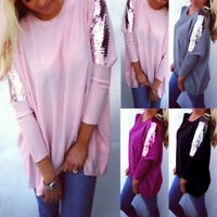 ❤️ Women's Sequin Jumper Tops T Shirt Ladies Long Sleeve Casual Pullover Blouse