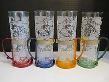 Set 4 Vtg Mid-Century Etched Roses Mint Julip Iced Tea Glasses w/Colored Holders